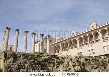 Columns of remains of a Roman temple in Cordoba Spain