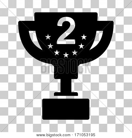 Second Prize Cup icon. Vector illustration style is flat iconic symbol black color transparent background. Designed for web and software interfaces.