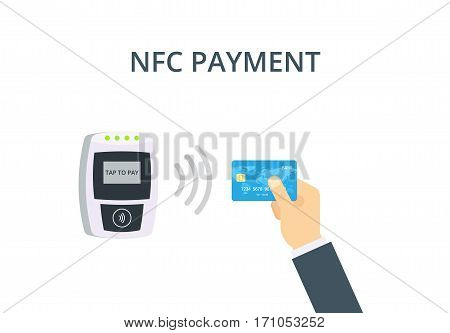 NFC Payment vector illustration in flat style. Pos terminal confirms contactless payment from credit card. Near-field communication concept.