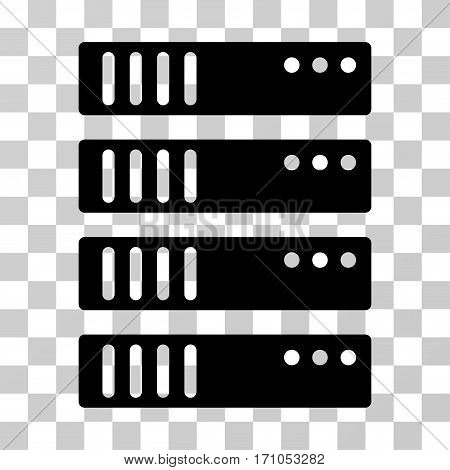 Server icon. Vector illustration style is flat iconic symbol black color transparent background. Designed for web and software interfaces.