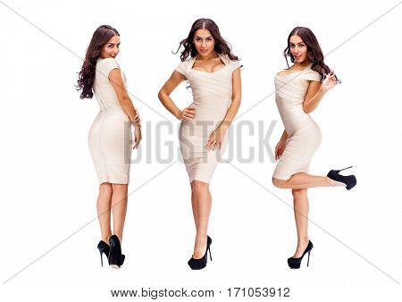 Collage five sexy woman. Young arabic models in beige dress, isolated on white background