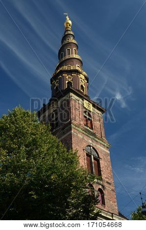 A view of an elaborate church tower in Copenhagen