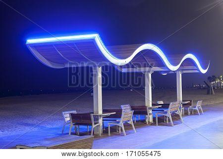 Benches at the Umm Suqeim Beach in Dubai United Arab Emirates