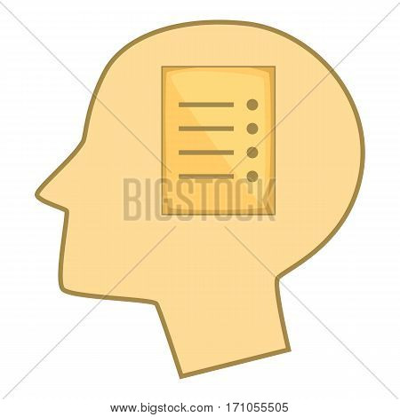 Sheet of paper in human head icon. Cartoon illustration of sheet of paper in human head vector icon for web