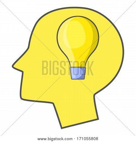 Burning light bulb in human head icon. Cartoon illustration of burning light bulb in human head vector icon for web