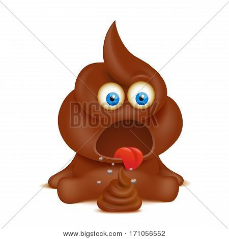 Funny poop emoji character isolated over white background. Vector illustration