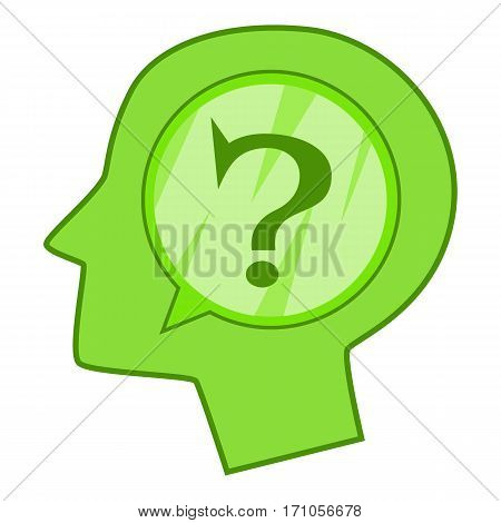 Head silhouette with question mark inside icon. Cartoon illustration of head silhouette with question mark inside vector icon for web