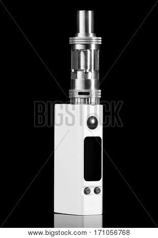 white electronic cigarette - isolated on black background.