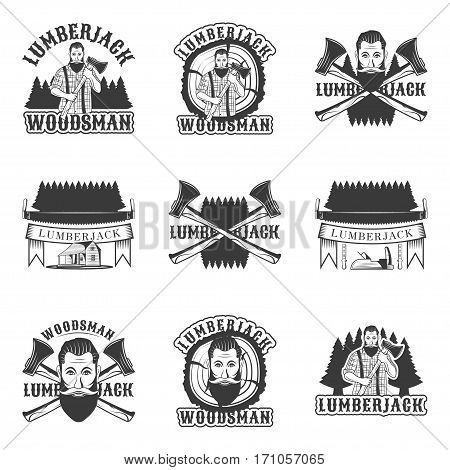 Lumberjack set of vector vintage emblems, labels, badges and logos in monochrome style on white background. hipster