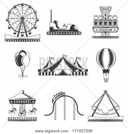 Set of amusement park monochrome icons, design elements isolated on white background. Flat style. elements for logos