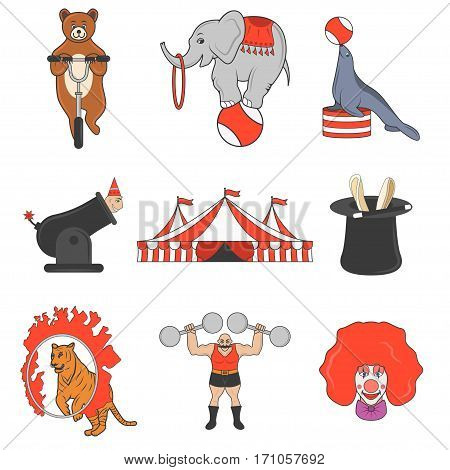 Set of circus color icons, design elements isolated on white background. Flat style. amusement park