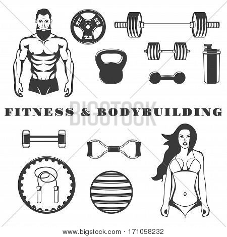 Set of fitness bodybuilding equipment monochrome icons, design elements isolated on white background. gym