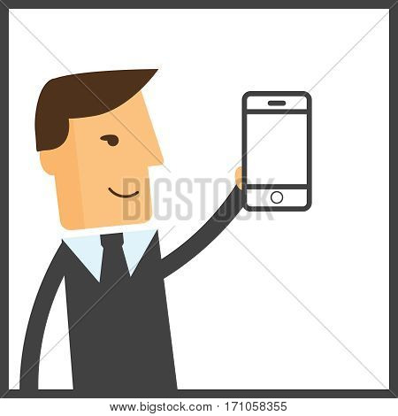 Man chatting with chat bot on smartphone vector illustration. Communication with chat bot use smartphone message for chat bot