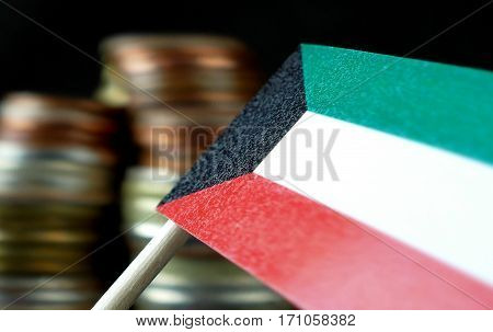 Kuwait Flag Waving With Stack Of Money Coins Macro