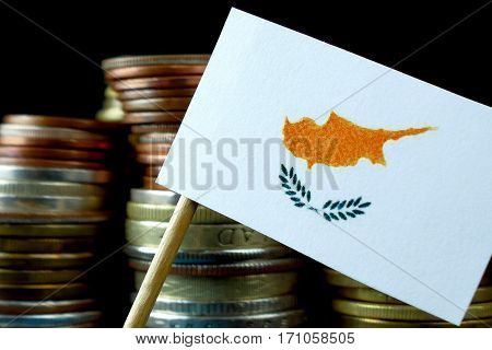 Cyprus Flag Waving With Stack Of Money Coins Macro