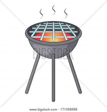 BBQ grill with fire icon. Cartoon illustration of BBQ grill with fire vector icon for web