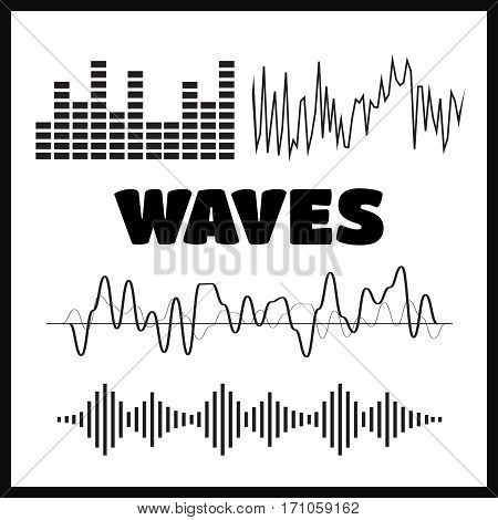 Signal wave set. Analog signals and digital sound waves forms vector.