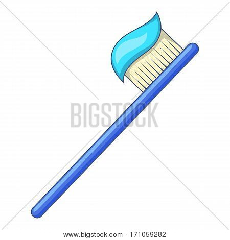 Toothbrush with toothpaste icon. Cartoon illustration of toothbrush with toothpaste vector icon for web