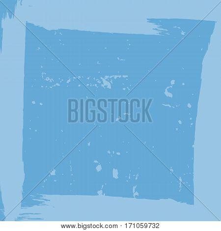 Square grunge background. Rough texture with framework. Brush strokes. Blue.