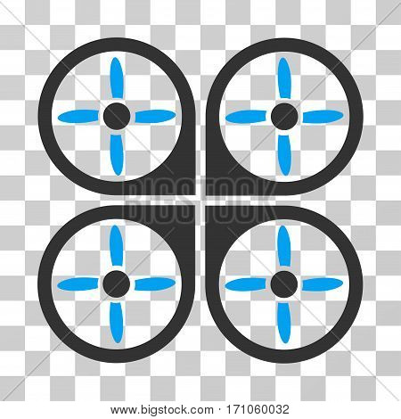 Copter icon. Vector illustration style is flat iconic bicolor symbol blue and gray colors transparent background. Designed for web and software interfaces.