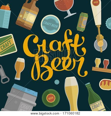 Seamless pattern with craft beer lettering. Differens beer elements include bottles, glasses, keg, can and bottle opener for bar, pub, home brewery, alcohol store. vector illustration art flat style.