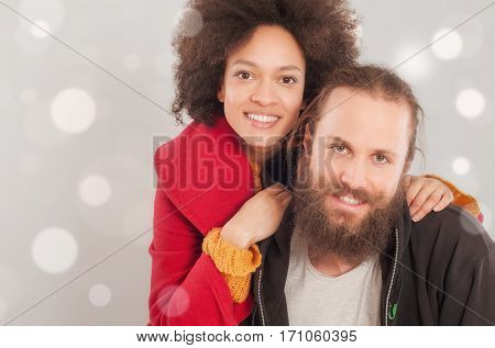 Romantic Multiethnic Couple In Love.