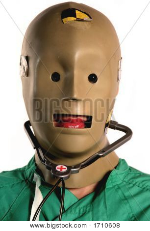 Weird Crash Test Dummy Medical Worker In Medicine With Scrubs And Stethoscope On And Red Lips