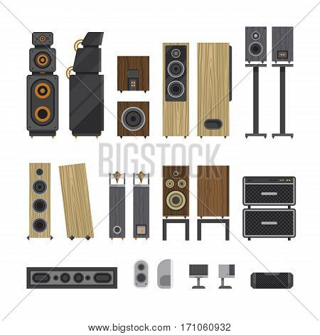 Different stereo acoustic systems. Speaker systems for listening high definition audio. Amplified monitors and subwoofers. Small computer speakers and high end loudspeakers. Vector illustration.