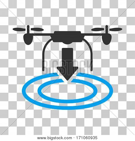 Drone Landing icon. Vector illustration style is flat iconic bicolor symbol blue and gray colors transparent background. Designed for web and software interfaces.