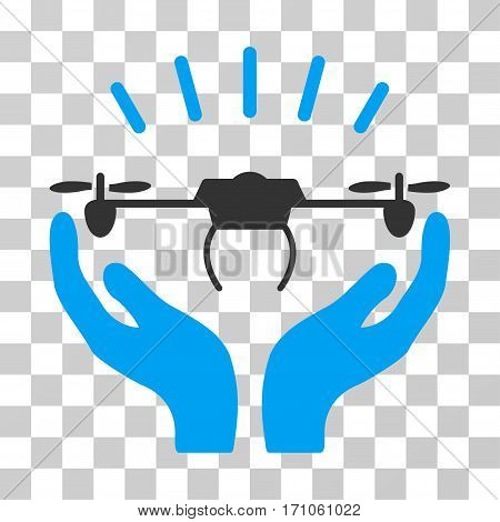Drone Launch Hands icon. Vector illustration style is flat iconic bicolor symbol blue and gray colors transparent background. Designed for web and software interfaces.