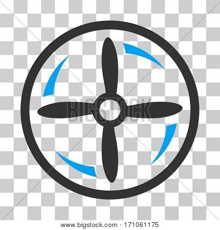 Drone Screw Rotation icon. Vector illustration style is flat iconic bicolor symbol blue and gray colors transparent background. Designed for web and software interfaces.