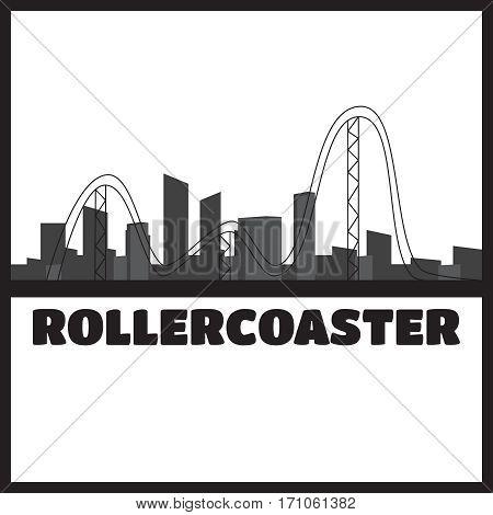 Fun fair amusement park landscape silhouette. Festival outdoor vector