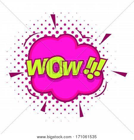 Wow, text sound effect icon. Pop art illustration of Wow, text sound effect vector icon for web