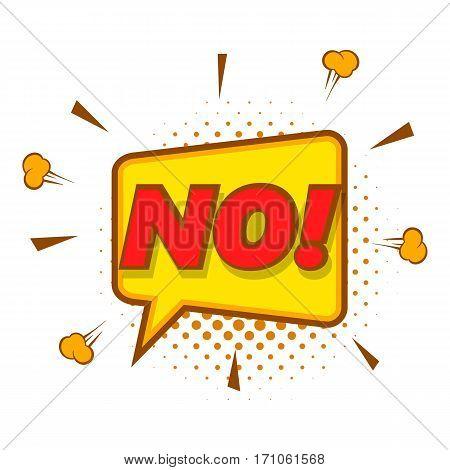 No, speech bubble icon. Pop art illustration of No, speech bubble vector icon for web