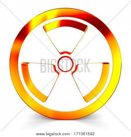 radiation symbol on white. Isolated 3D image