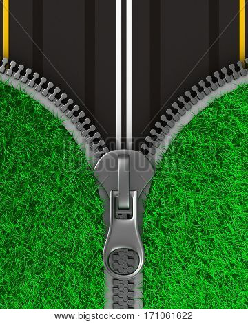Zipper with grass and road. Isolated 3D image