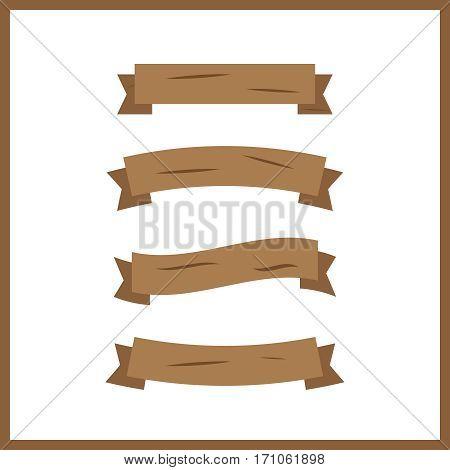 Cartoon wooden plank. Wood banner vector elements