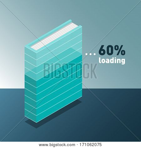 Loading infographic. Progress bar in book. New 3d colorful book or tutorial. Isometric flat classbooks and textbooks icon. Education symbol logo. Illustration vector art.