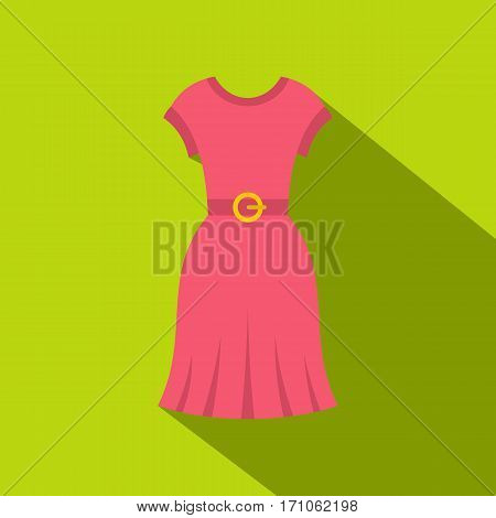 Pink dress icon. Flat illustration of pink dress vector icon for web isolated on lime background