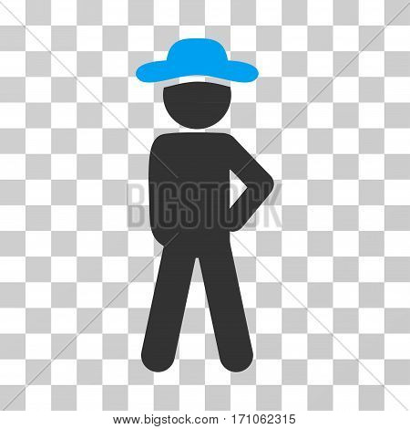 Gentleman Audacity icon. Vector illustration style is flat iconic bicolor symbol blue and gray colors transparent background. Designed for web and software interfaces.