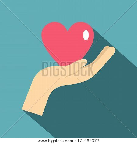 Hand holding a pink heart icon. Flat illustration of hand holding a pink heart vector icon for web isolated on baby blue background
