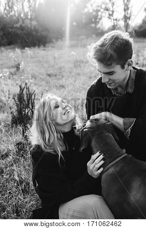 Tree Rhodesian ridgeback in a field on a leash in men and women. Young man and woman sitting on the grass on the background of wood. Love story. Fashion photography concept. . Boy and girl walking with a dogs Boy and girl playing with dogs