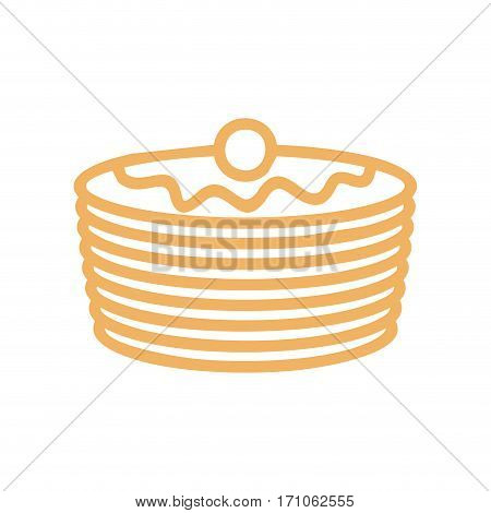 Pancakes Line Icon. Symbol For Bakery. Production Bread Ingredient