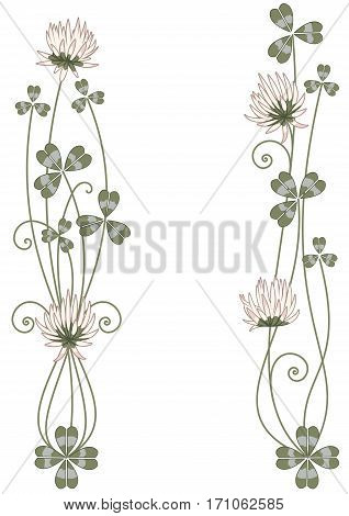 set of vector vignette with clover in green and pink colors