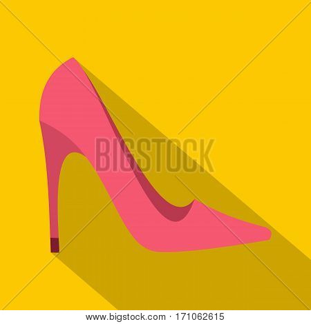 Pink high heel shoe icon. Flat illustration of pink high heel shoe vector icon for web isolated on yellow background