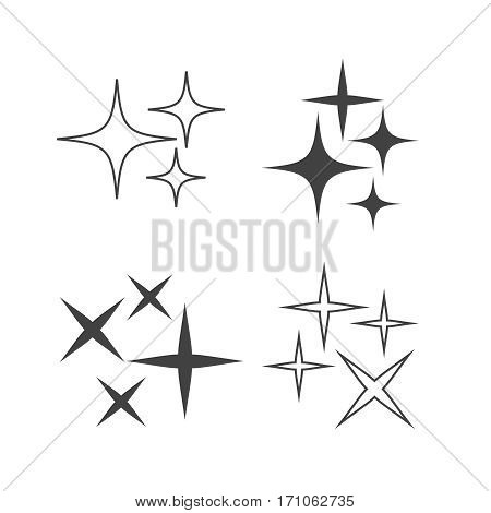 Vector isolated shiny sun set with rays. Glowing stars and stellar objects on transparent background.