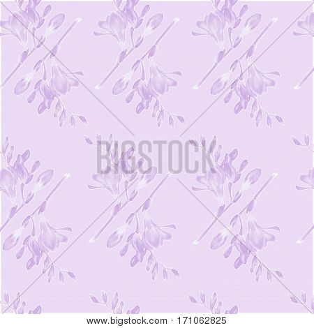 Lilac freesia on Lilac background. Abstract seamless pattern