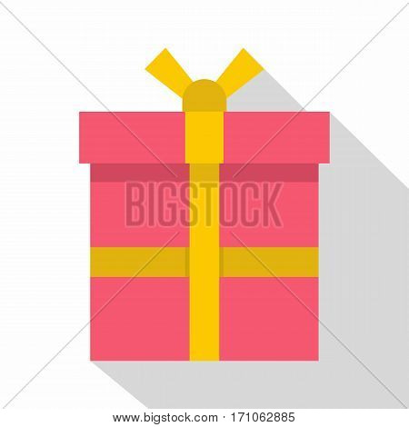 Pink gift box with a yellow ribbon icon. Flat illustration of pink gift box with a yellow ribbon vector icon for web isolated on white background
