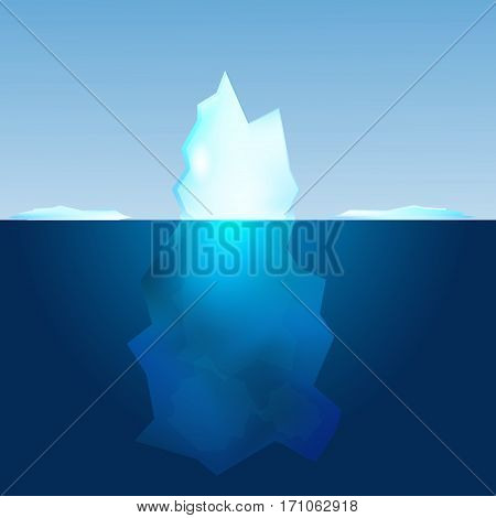 Underwater view of iceberg. Landscape ocean background.