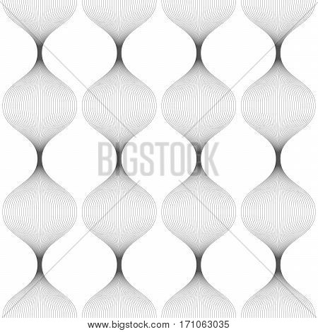 Abstract Seamless Pattern Of Gray Distorted Lines.